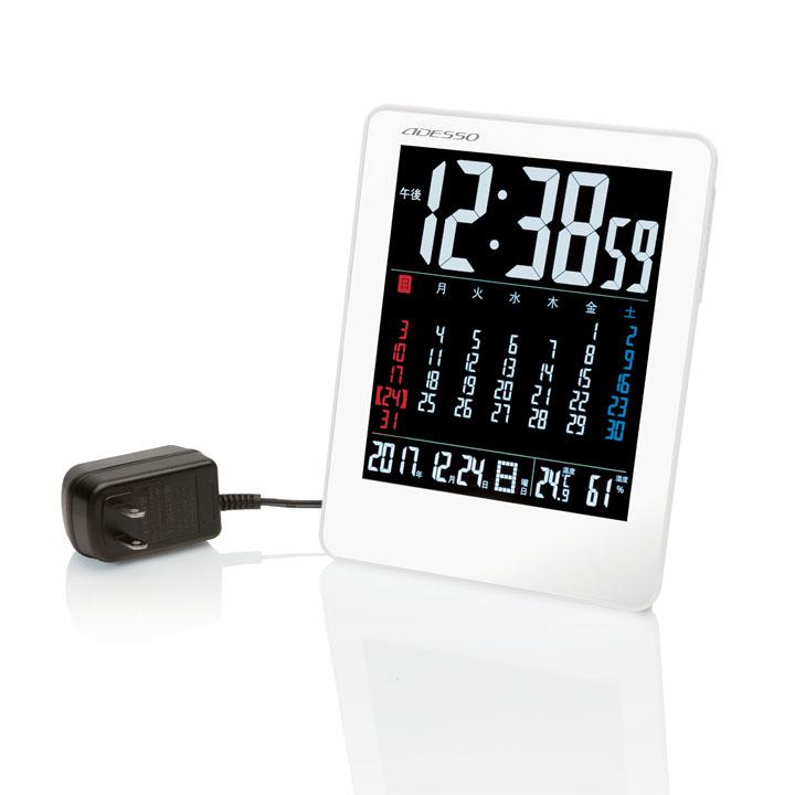 時計 ウォッチ ついに入荷 デジタル 電波 置き掛け兼用 アデッソ カラーカレンダー電波時計 D アラーム 休日 置き時計 壁掛け時計 ホワイト NA929時計 カレンダー
