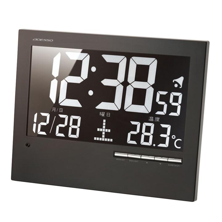 ウォール電波クロック ブラック AK-62時計 ウォッチ 掛け時計 デジタル 掛時計 和風 電波 置き掛け兼用 置時計 アデッソ 【D】