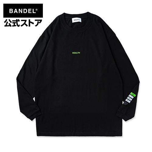 Long Sleeve T Color benefit HEALTH black ブラック ロングTシャツ バンデル Tシャツ 期間限定特別価格 ファッション 長袖 ロンT 激安特価品 レディース BANDEL ロング メンズ
