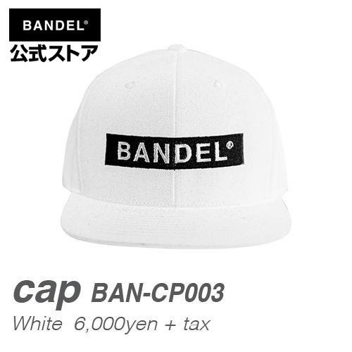 キャップ 帽子 ホワイト(White 黒)ベースボールキャップ ボックスロゴBAN-CP003 BANDEL バンデル メンズ レディース スポーツ