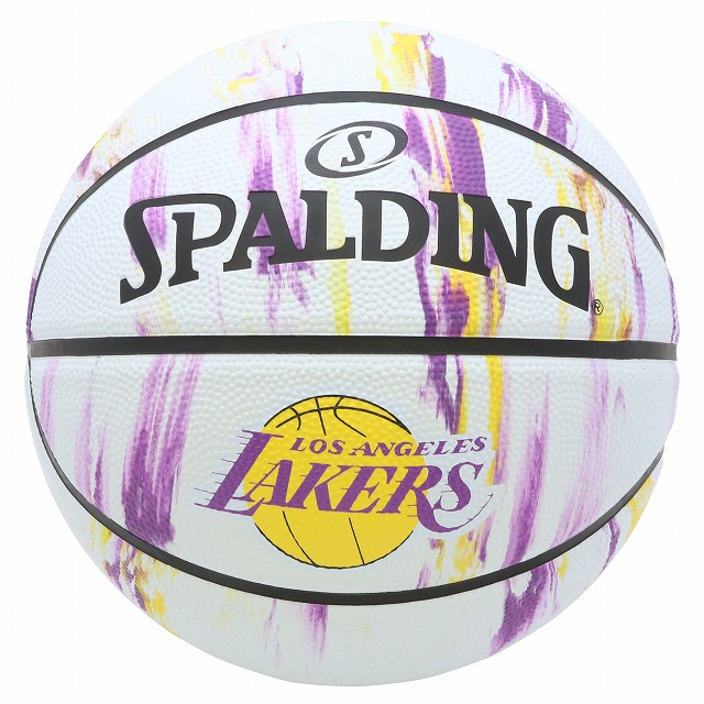 バスケットボール 国内正規品 激安卸販売新品 SPALDING ラバーボール レイカーズ マーブル 外用 5号