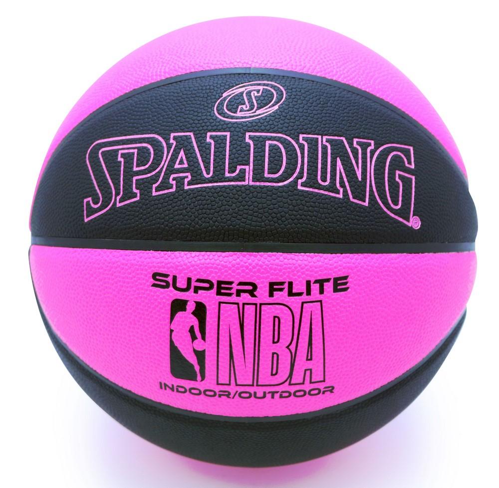 名入れプリント無料 納期2~5日 名入れ可能 バスケットボール 本日の目玉 SPALDING 5号 最安値 ブラック×ピンク スーパーフライト 合成皮革