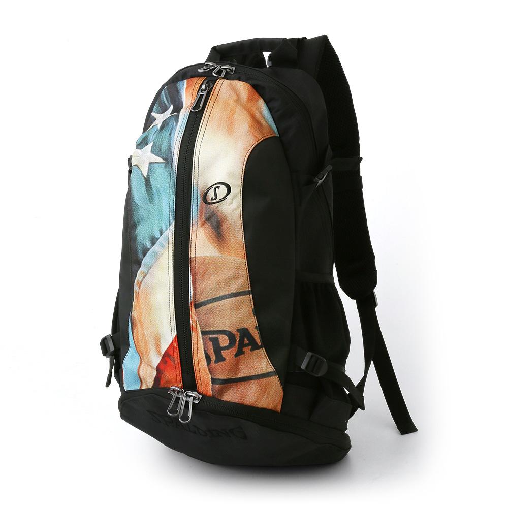 バッグ名入れプリント無料 納期2~5日 バスケット専用バッグケイジャー USフラッグ スポルディング 数量限定 NBA公式球ブランドSPADLING製 CAGER Backpack バックパック BAG BASKETBALL 至高
