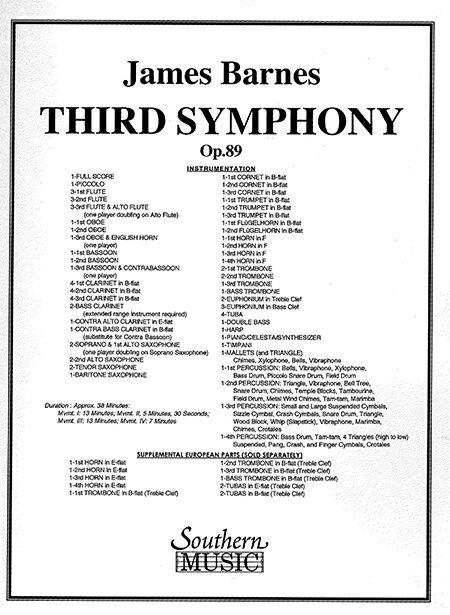 【取寄 約21-30日間】交響曲第3番 作曲:ジェームズ・バーンズ Third Symphony for Syhmphonic Band Op.89【吹奏楽 楽譜セット オンデマンド出版】
