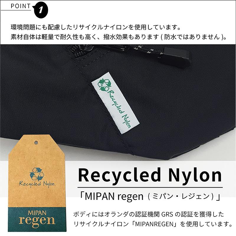 MEI_BOTTOMLINE_ポイント1_素材には環境に配慮したリサイクルナイロンを使用