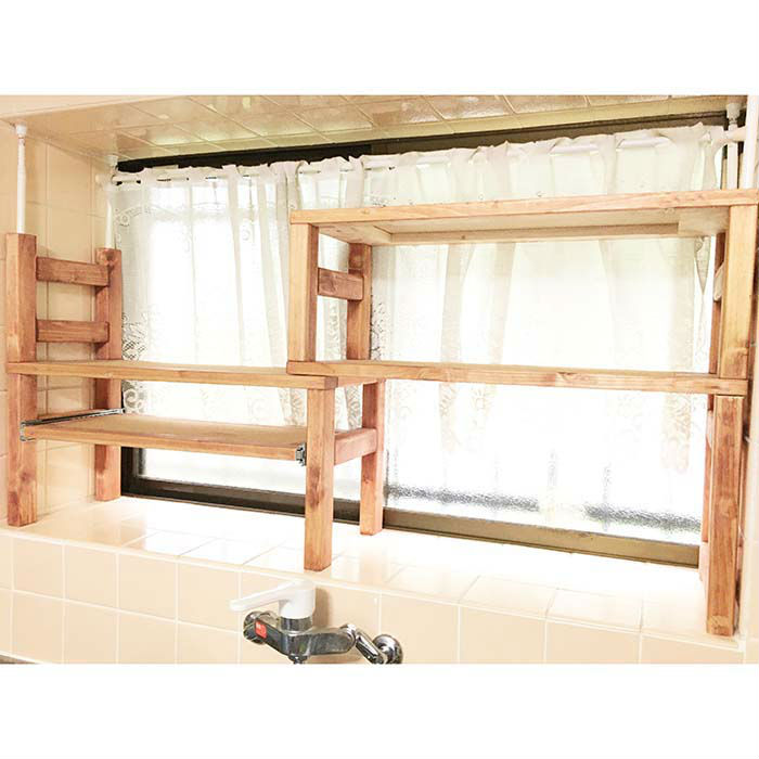 格安SALEスタート アンティーク調の伸縮キッチンラック スライドテーブル付 キッチンラック 期間限定で特別価格 送料無料 伸縮 アンティーク調 突っ張り式 木製 スライドテーブル