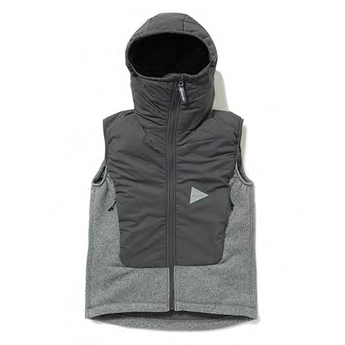 and wander-アンドワンダーWomens Twill Fleece Vest-Gray-