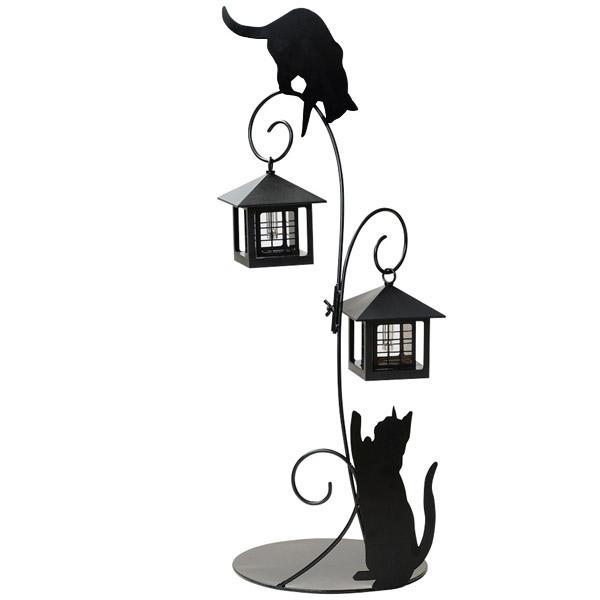 【送料無料】ソーラーライト(キャット)2灯タイプ 外灯 照明 電気 太陽電池 電源不要 LED 動物 ネコ 猫 セトクラフト SETO CRAFT  10P18Jun16