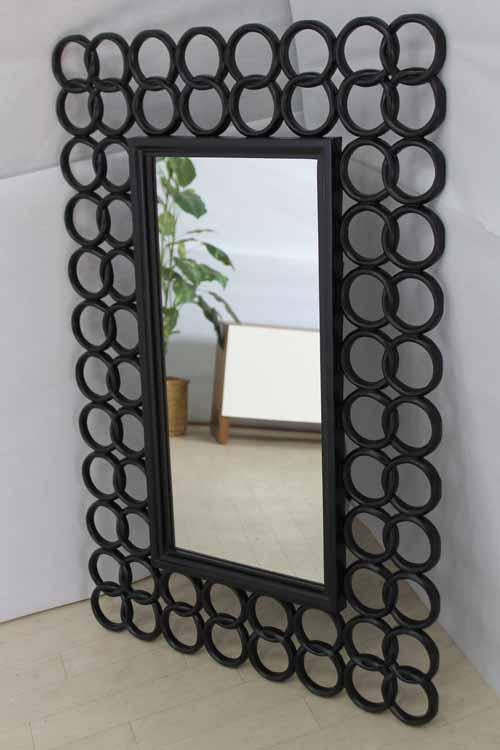 【アウトレット】 鏡 ミラー ウォールミラー MRR005 アジアン ブラック 黒 インテリア 収納 鏡 壁掛け 角型 中古 家具