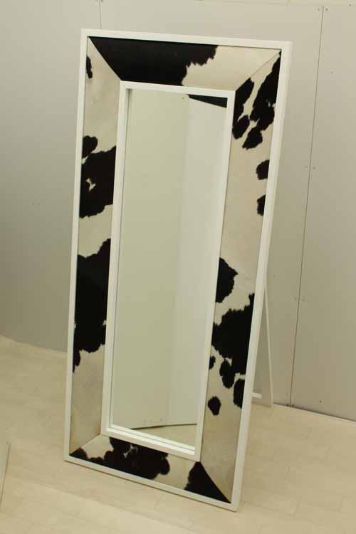 【アウトレット】 鏡 ミラースタンドミラー MRR015HR 牛皮レザー ハラコ 牛柄 黒 白 インテリア 収納 鏡 壁掛け 角型 中古 家具