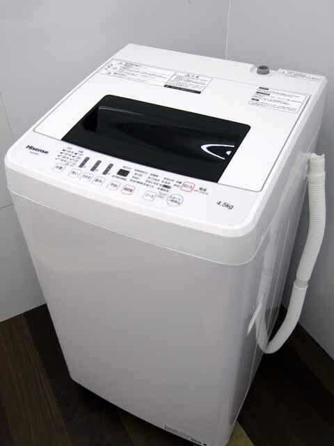 【あす楽】【中古 洗濯機】ハイセンス HW-E4502 4.5kg ホワイト 2019年製 【S】中古洗濯機 洗濯機 家電 1人暮らし 単身者向け 1~2人用 小型 激安 価格 安い おすすめ サイズS