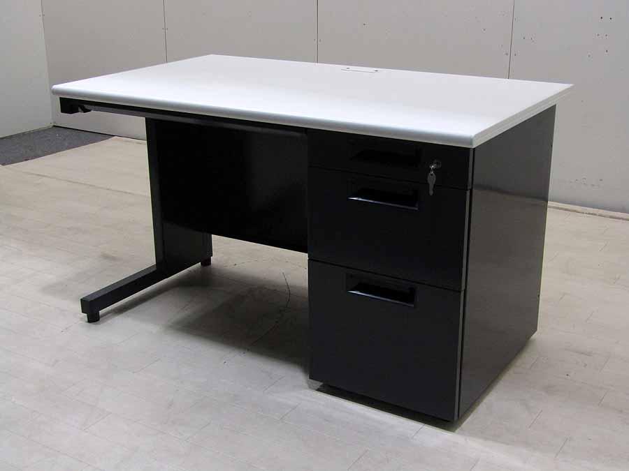 【 中古 家具】 事務机 完成品 ホワイト 幅120 yk-0019 書斎机 収納 スチール おしゃれ
