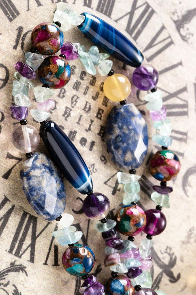 フローライトとラピスラズリの厳選された天然石の美しさに目が離せません天然石 ロングネックレスxrCdeQoBW