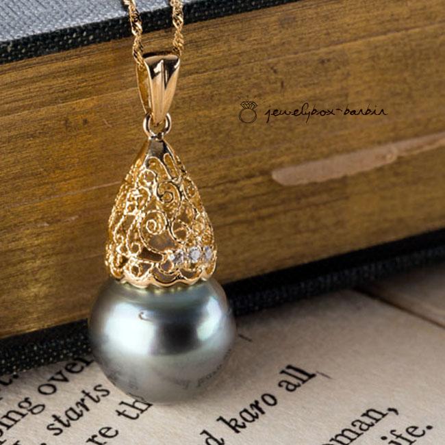 訳あり アウトレット 18K 南洋黒真珠 パール ネックレス ダイヤモンド ペンダント ジュエリー アクセサリー レディースジュエリー 品質保証 プレゼント 贈り物 ファッション 30代 40代 50代 60代 おすすめ 送料無料