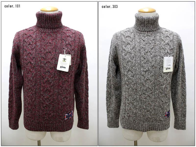 gim 【ジム】 5G英国羊毛ケーブルタートルネックセーター 45011060 【10P09Jul16】