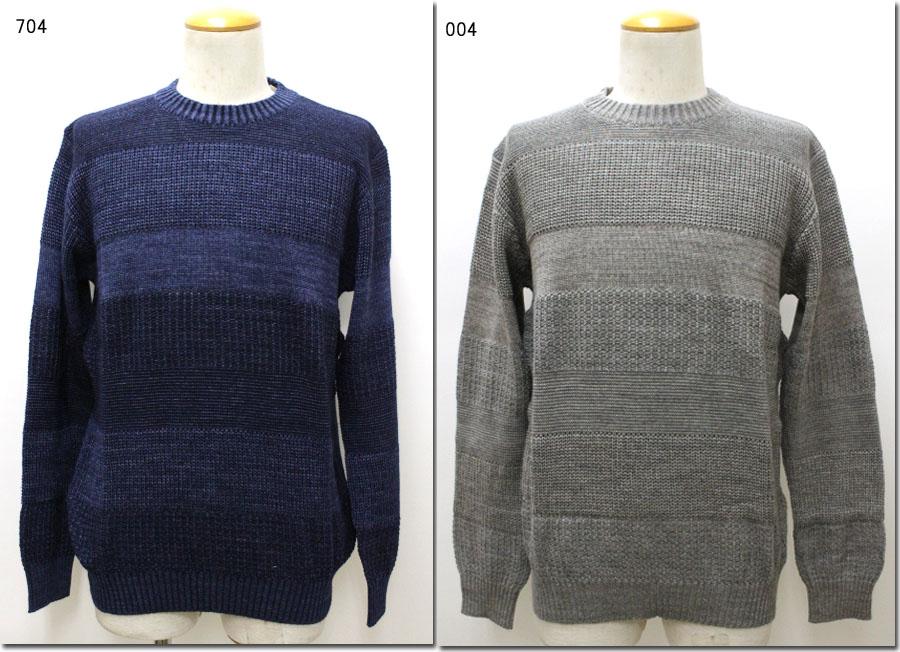 gim【ジム】10Gトリプルミックスクルーネックニット セーター 日本製 85011460