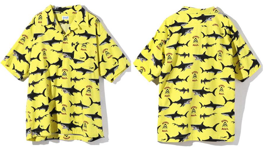 SCHOTT 【ショット】ハワイアンシャツ アロハシャツ  シャーク サメ 総柄  3105038
