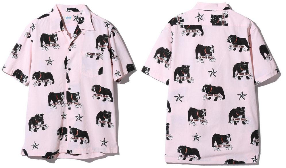 SCHOTT 【ショット】ハワイアンシャツ アロハシャツ  ブルドッグ 犬 総柄  3105045