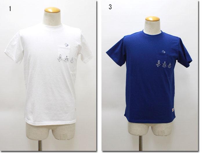 快晴堂 【かいせいどう】  マリンUNI半袖Tシャツ のぞき錨柄  71C-18B