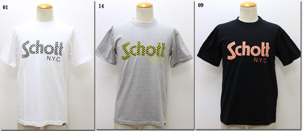 人気ショップが最安値挑戦 3 980円 税込 以上購入で送料無料 ショット 3183018 チェッカーロゴTシャツ 日本最大級の品揃え SCHOTT