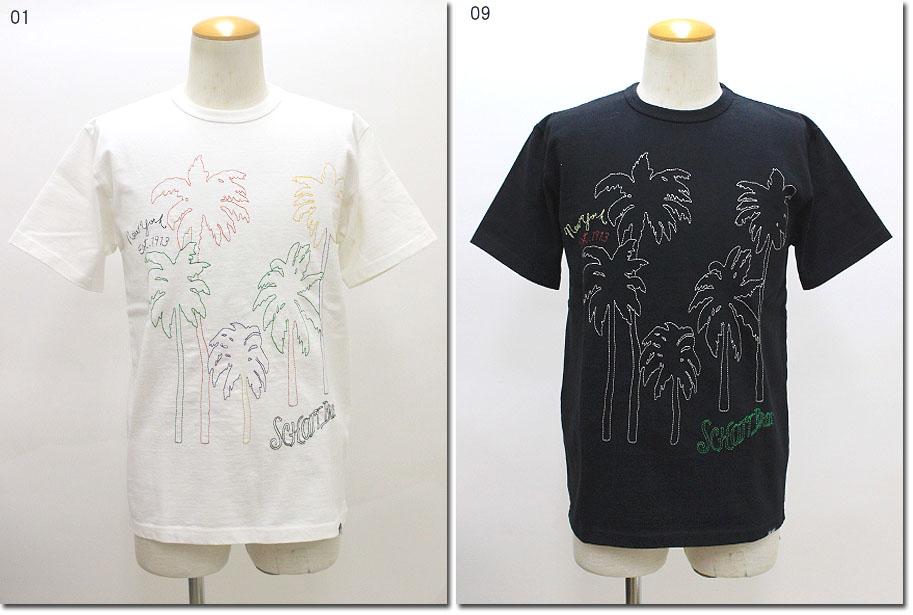 SCHOTT 【ショット】エンブロイダリー PALM ヤシ Tシャツ 半袖 3183052