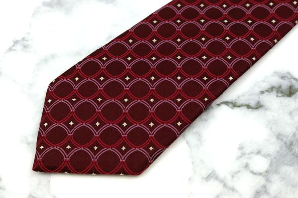 メンズビギ MEN'S BIGI ブランド ネクタイ 在庫処分 送料無料 美品 日本製 中古 総柄 レッド シルク スーパーセール