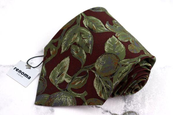 ●日本正規品● レノマ renoma ブランド ネクタイ ゆうパケット 送料無料 お気にいる シルク カーキ 新品未使用 中古 植物柄 総柄