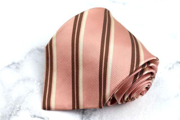 NEW売り切れる前に☆ チャップスラルフローレン CHAPS Ralph Lauren ブランド ネクタイ ゆうパケット 中古 ストライプ柄 オンライン限定商品 シルク 良品 送料無料 日本製 ピンク