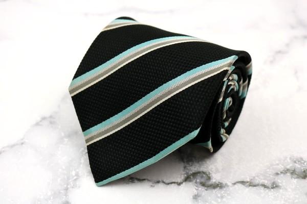 ダーバン DURBAN ブランド ネクタイ ゆうパケット 送料無料 シルク ブラック 代引き不可 ストライプ柄 日本製 良品 中古 売り出し