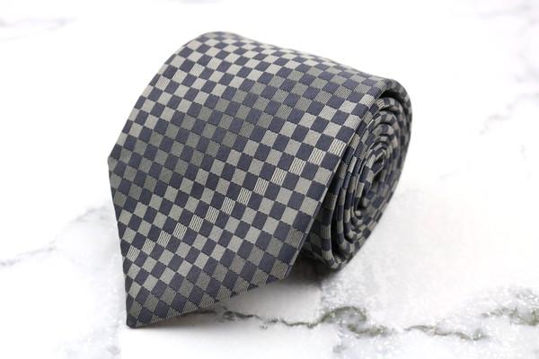 最安値 ディージェイホンダ dj honda 全国一律送料無料 ブランド ネクタイ ゆうパケット 送料無料 グレー 美品 中古 日本製 チェック柄 シルク