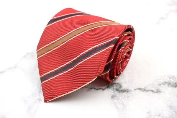日本産 ゲイナー GAINER ブランド ネクタイ ゆうパケット 送料無料 シルク ストライプ柄 美品 中古 日本製 送料無料お手入れ要らず レッド