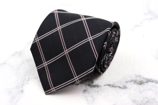 ダナキャラン 日本正規代理店品 DONNA KARAN DKNY ブランド 超歓迎された ネクタイ ゆうパケット 日本製 美品 ブラック チェック柄 送料無料 シルク 中古