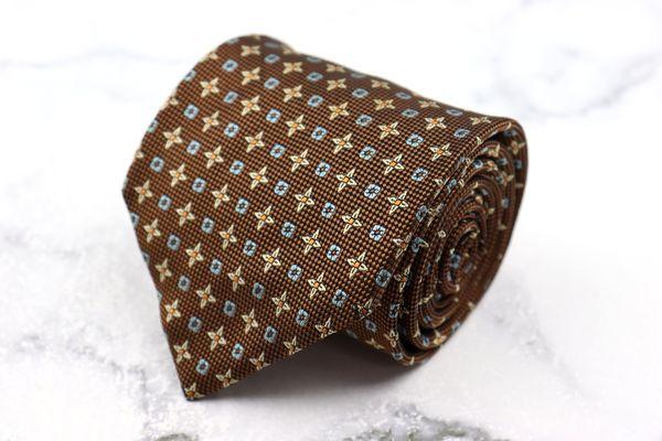 モスキーノ MOSCHINO ブランド ネクタイ ゆうパケット 送料無料 日本製 中古 ブラウン ◆高品質 シルク 小紋柄 NEW 良品