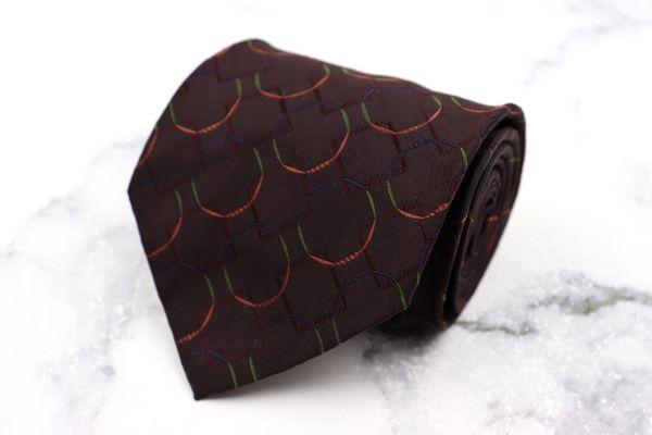 ニコル NICOLE ブランド 商舗 ネクタイ ゆうパケット 送料無料 リング柄 日本製 シルク 美品 ブラウン 優先配送 総柄 中古