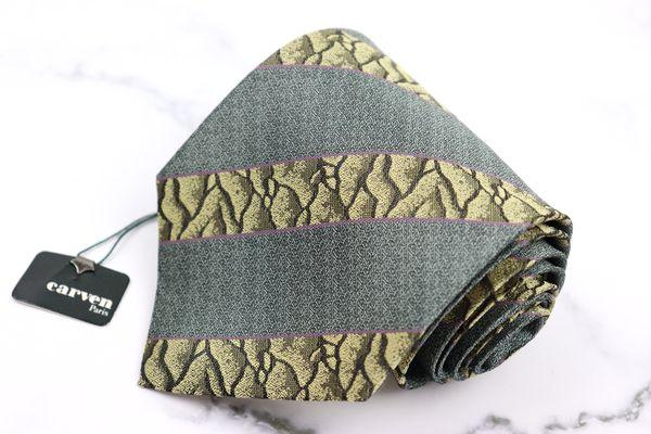カルヴェン CARVEN ブランド ネクタイ ゆうパケット 送料無料 シルク 高級品 グレー ストライプ柄 中古 蔵 新品未使用