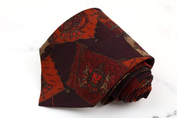 ジャンフランコフェレ 割引も実施中 GIANFRANCO FERRE ブランド ネクタイ 高品質 ゆうパケット 送料無料 旗 美品 総柄 中古 イタリア製 パープル フラッグ シルク