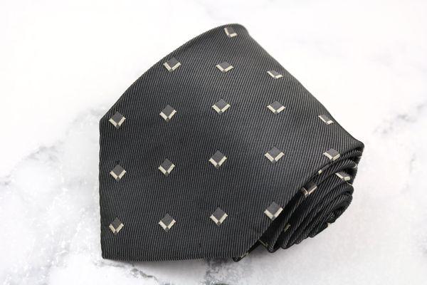 アルマーニ コレツィオーニ ARMANI COLLEZIONI ブランド 買い物 ネクタイ ゆうパケット 送料無料 良品 中古 総柄 シルク イタリア製 ブロック柄 数量は多 グレー