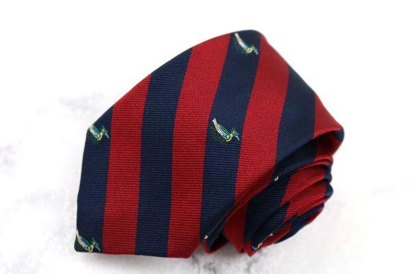 キッズ ジュニア 子供用 ギフ_包装 ネクタイ ブランド ゆうパケット 送料無料 Jプレス J.PRESS 全長約110cm ストライプ柄 中古 卓抜 シルク 鳥柄 レッド 美品 シルク混 動物柄