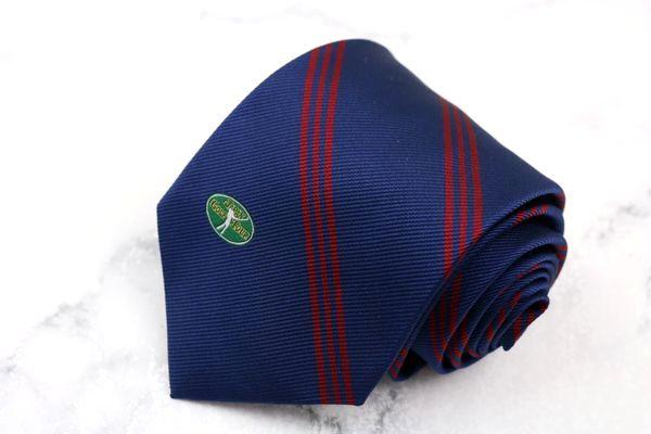 ジャパンゴルフツアー JAPAN Golf Tour ブランド ネクタイ ゆうパケット 高品質新品 期間限定で特別価格 送料無料 ブルー ロゴ ストライプ柄 美品 シルク 日本製 中古