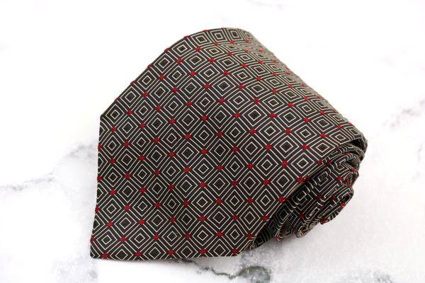 ポールスチュアート Paul Stuart ブランド ネクタイ 店内限界値引き中&セルフラッピング無料 ゆうパケット 送料無料 中古 刺繍 英国製 シルク ブラウン 格子柄 セール 美品
