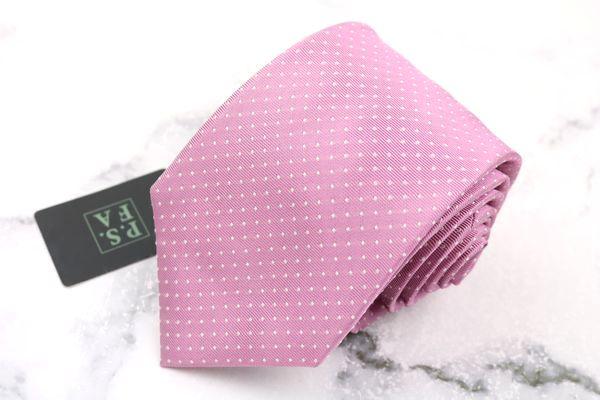 人気の製品 パーフェクトスーツ P.S.FA ブランド ネクタイ ゆうパケット 送料無料 中古 新品未使用 刺繍 ピンク 推奨 シルク ドット柄