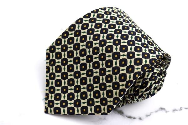 フェアファクス FAIRFAX ブランド セール価格 ネクタイ ゆうパケット 送料無料 日本製 100%品質保証 良品 ネイビー シルク 中古 総柄