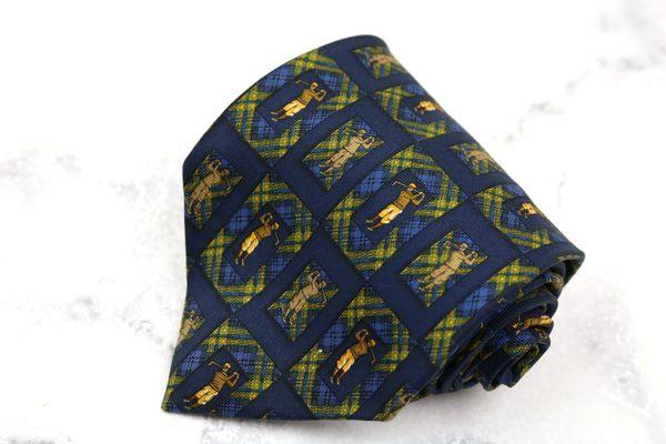 ジョンコンフォート JOHN COMFORT ブランド ネクタイ 最安値 数量は多 ゆうパケット 送料無料 ネイビー 良品 シルク 中古 ゴルファー 総柄
