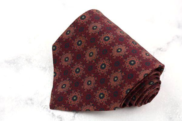 ジョルジオ 蔵 実物 アルマーニ GIORGIO ARMANI ブランド ネクタイ ゆうパケット 不明 送料無料 総柄 ブラウン 良品 伊製 中古