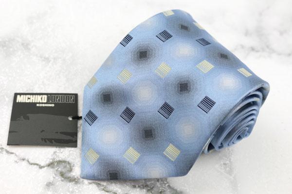 ミチコロンドンコシノ MICHIKO 新発売 LONDON KOSHINO ブランド ネクタイ ゆうパケット シルク 送料無料 高額売筋 ブルー 総柄 新品未使用 中古 日本製