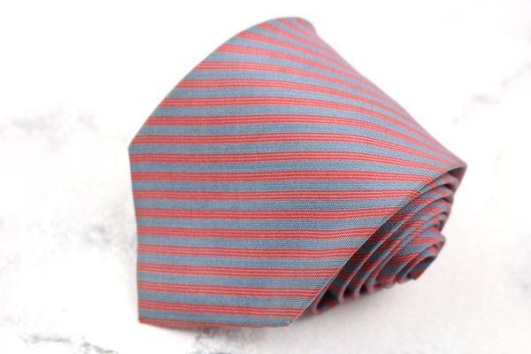 ア テストーニ a.testoni ブランド 人気海外一番 ネクタイ 当店一番人気 ゆうパケット 送料無料 中古 ストライプ柄 シルク 良品 レッド イタリア製