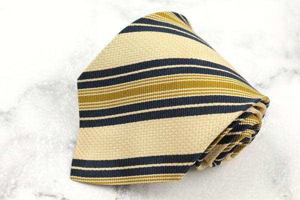 出群 ヘンリーコットンズ Henry Cotton's ブランド ネクタイ ゆうパケット 送料無料 中古 ハンドメイド 日本全国 良品 シルク ベージュ ストライプ柄