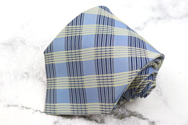 在庫一掃売り切りセール チャップスラルフローレン CHAPS Ralph Lauren ブランド ネクタイ ゆうパケット シルク ブルー チェック柄 中古 信用 送料無料 日本製 良品