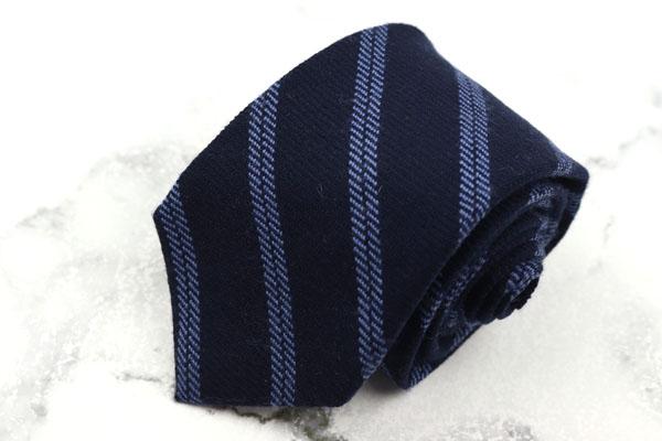 フェアファクス FAIRFAX 上質 ブランド ネクタイ ゆうパケット 送料無料 美品 ストライプ柄 日本製 ネイビー 物品 ウール 中古
