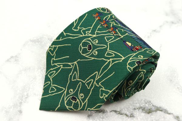 ムツゴロウ王国 Mutsugoro Pals ブランド ネクタイ ゆうパケット 送料無料 シルク ふるさと割 犬柄 動物柄 半額 美品 クリスマス グリーン 中古